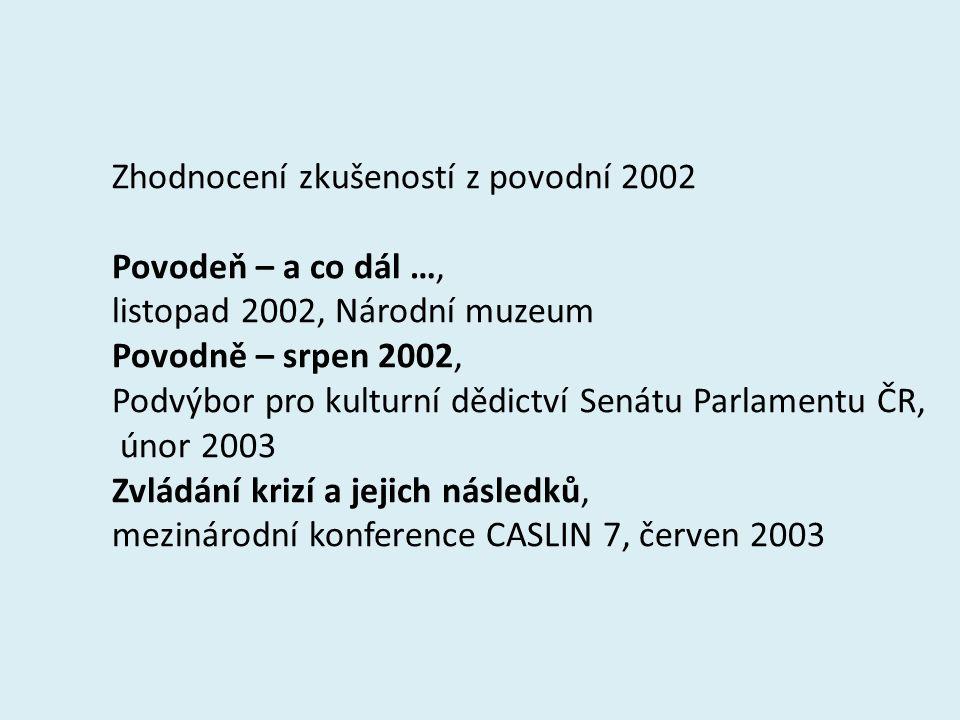 Zhodnocení zkušeností z povodní 2002 Povodeň – a co dál …, listopad 2002, Národní muzeum Povodně – srpen 2002, Podvýbor pro kulturní dědictví Senátu Parlamentu ČR, únor 2003 Zvládání krizí a jejich následků, mezinárodní konference CASLIN 7, červen 2003