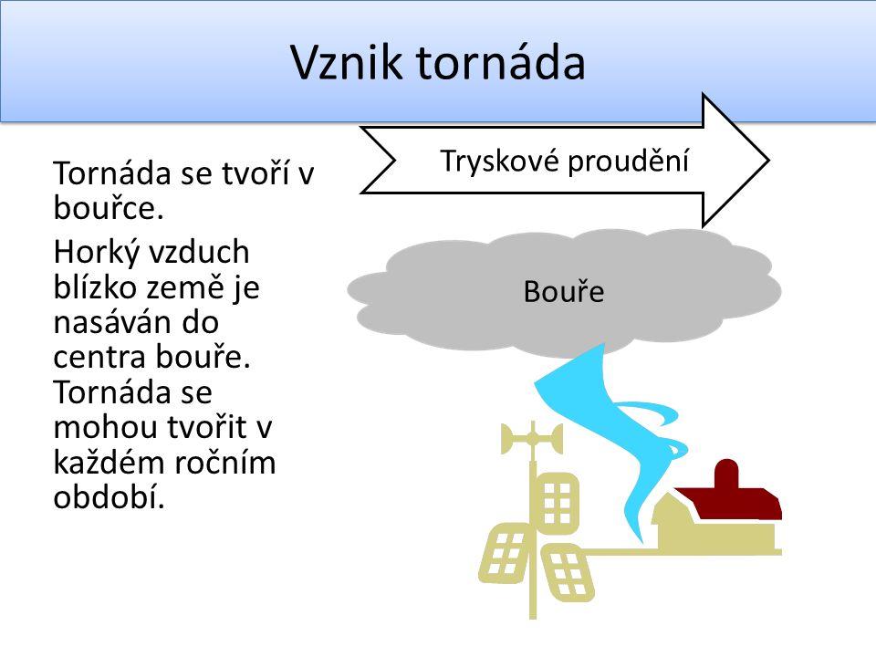 Tornáda se tvoří v bouřce. Horký vzduch blízko země je nasáván do centra bouře.
