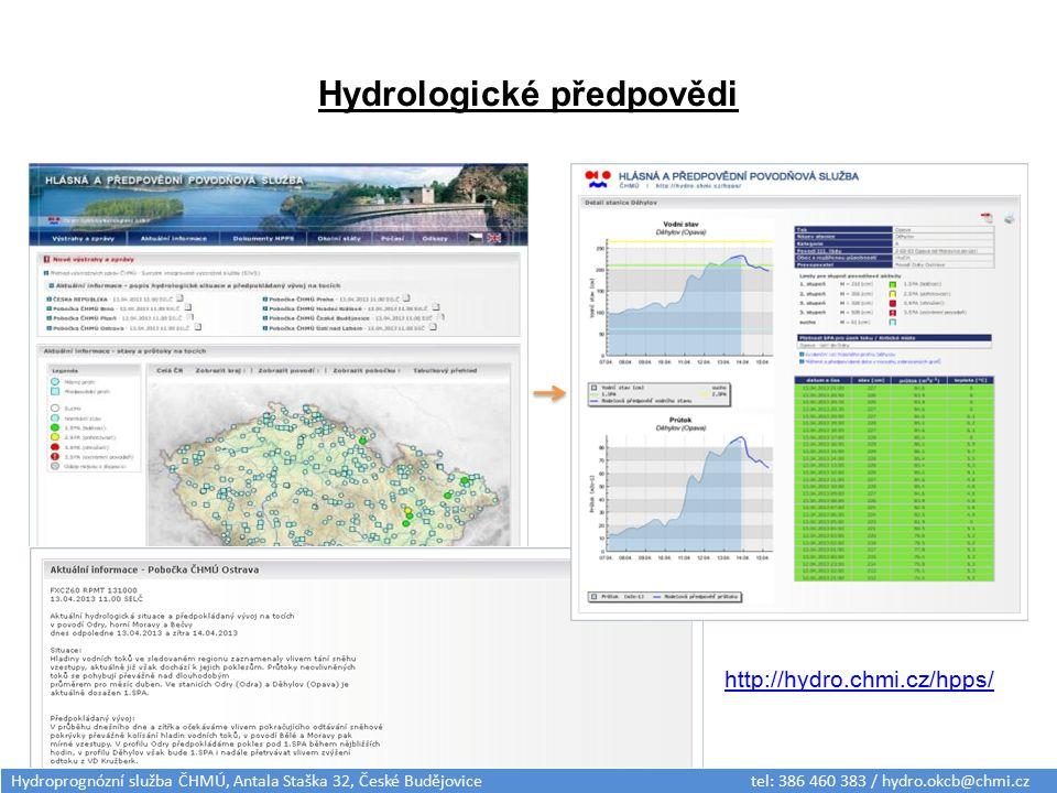 Hydrologické předpovědi http://hydro.chmi.cz/hpps/ Hydroprognózní služba ČHMÚ, Antala Staška 32, České Budějovice tel: 386 460 383 / hydro.okcb@chmi.c