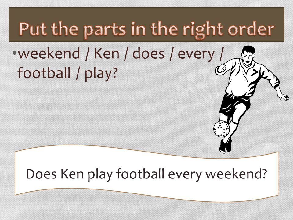 weekend / Ken / does / every / football / play? Does Ken play football every weekend?