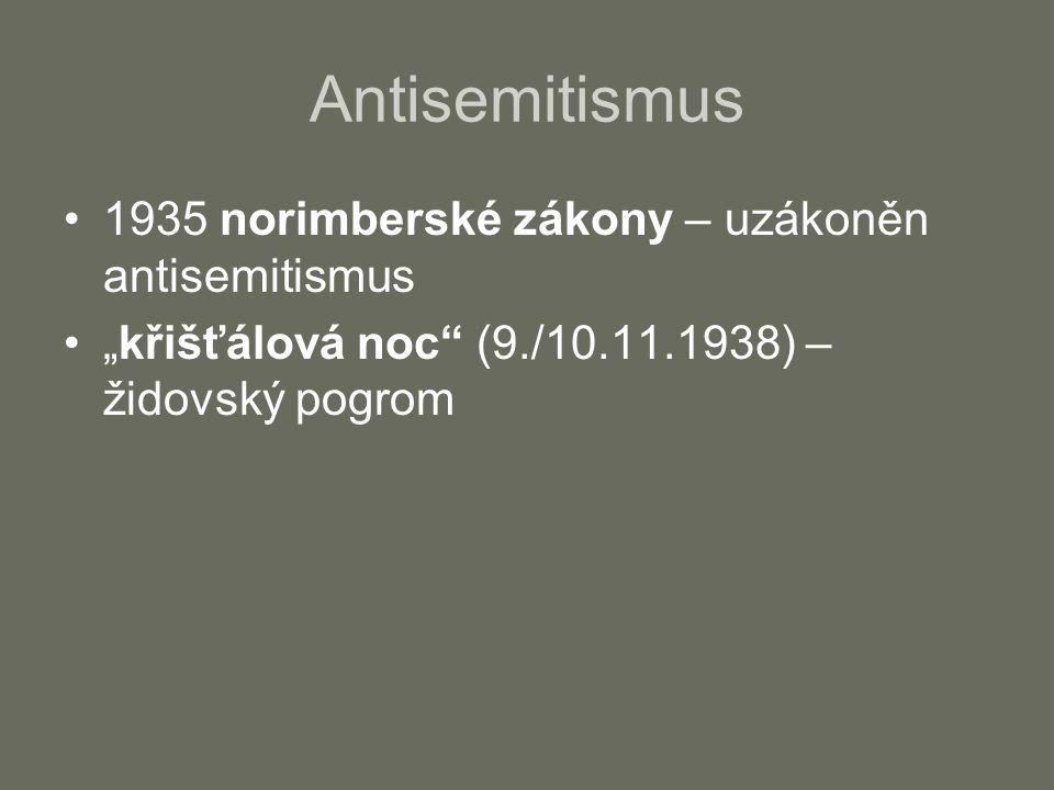 """Antisemitismus 1935 norimberské zákony – uzákoněn antisemitismus """"křišťálová noc (9./10.11.1938) – židovský pogrom"""