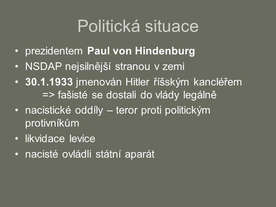 Politická situace prezidentem Paul von Hindenburg NSDAP nejsilnější stranou v zemi 30.1.1933 jmenován Hitler říšským kancléřem => fašisté se dostali do vlády legálně nacistické oddíly – teror proti politickým protivníkům likvidace levice nacisté ovládli státní aparát