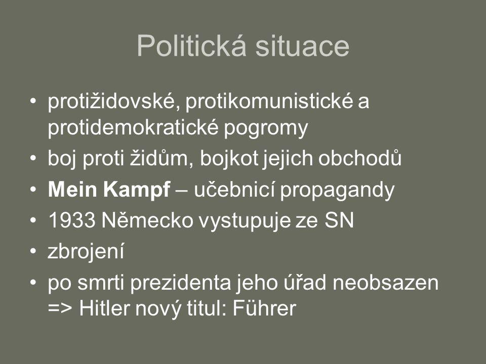 Politická situace protižidovské, protikomunistické a protidemokratické pogromy boj proti židům, bojkot jejich obchodů Mein Kampf – učebnicí propagandy 1933 Německo vystupuje ze SN zbrojení po smrti prezidenta jeho úřad neobsazen => Hitler nový titul: Führer