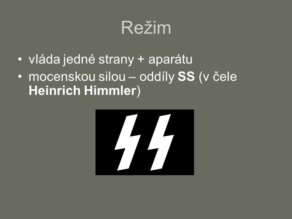 Režim státní tajná policie – gestapo (v čele Reinhart Heydrich) ideologie - ministerstvo propagandy (v čele Joseph Goebbels) nacionalismus, rasismus, nenávist k demokracii