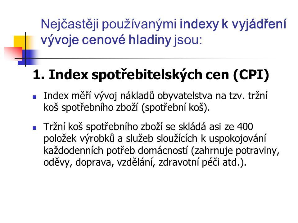 Nejčastěji používanými indexy k vyjádření vývoje cenové hladiny jsou: 1.