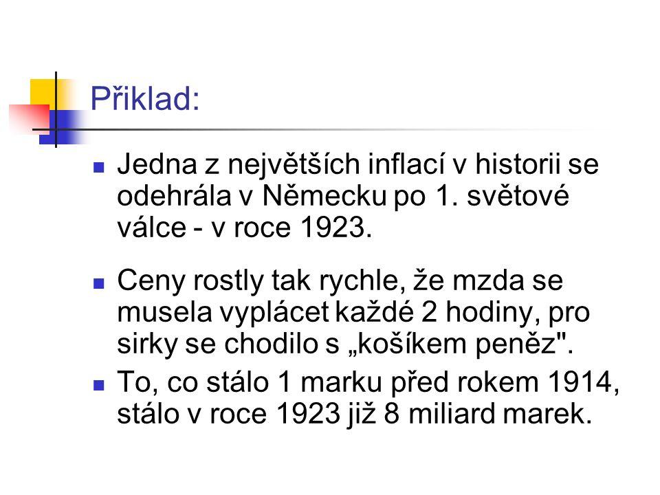 Přiklad: Jedna z největších inflací v historii se odehrála v Německu po 1.