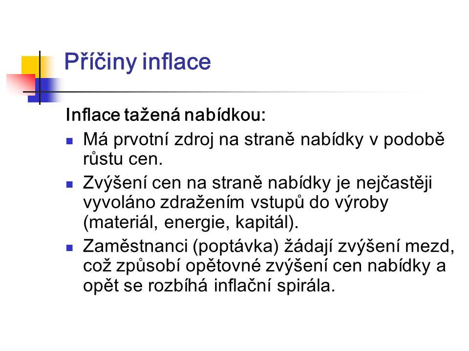 Míra inflace se dá vyjádřit ukazatelem: cenová hladina (t) - cenová hladina (t -1) míra inflace = ----------------------------------------------------------.