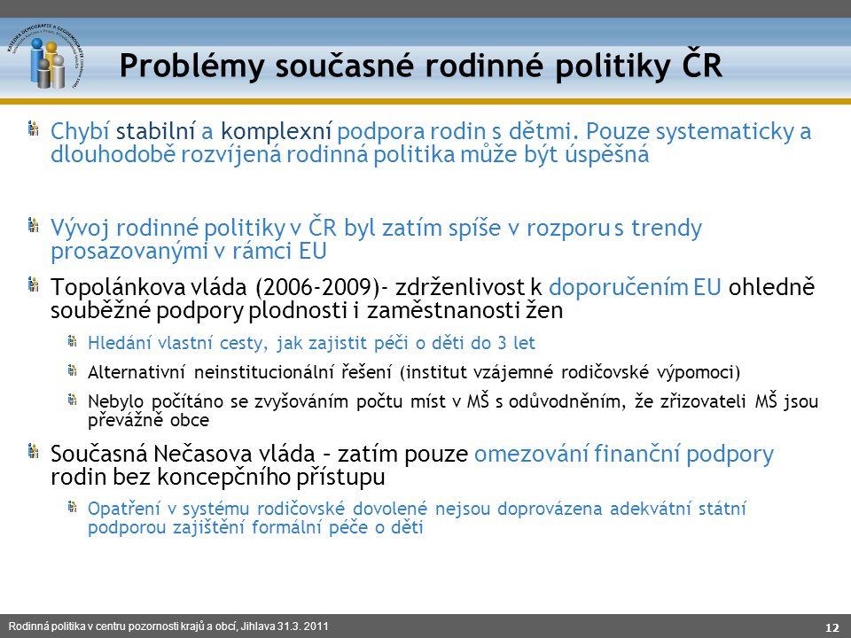 Rodinná politika v centru pozornosti krajů a obcí, Jihlava 31.3. 2011 Chybí stabilní a komplexní podpora rodin s dětmi. Pouze systematicky a dlouhodob