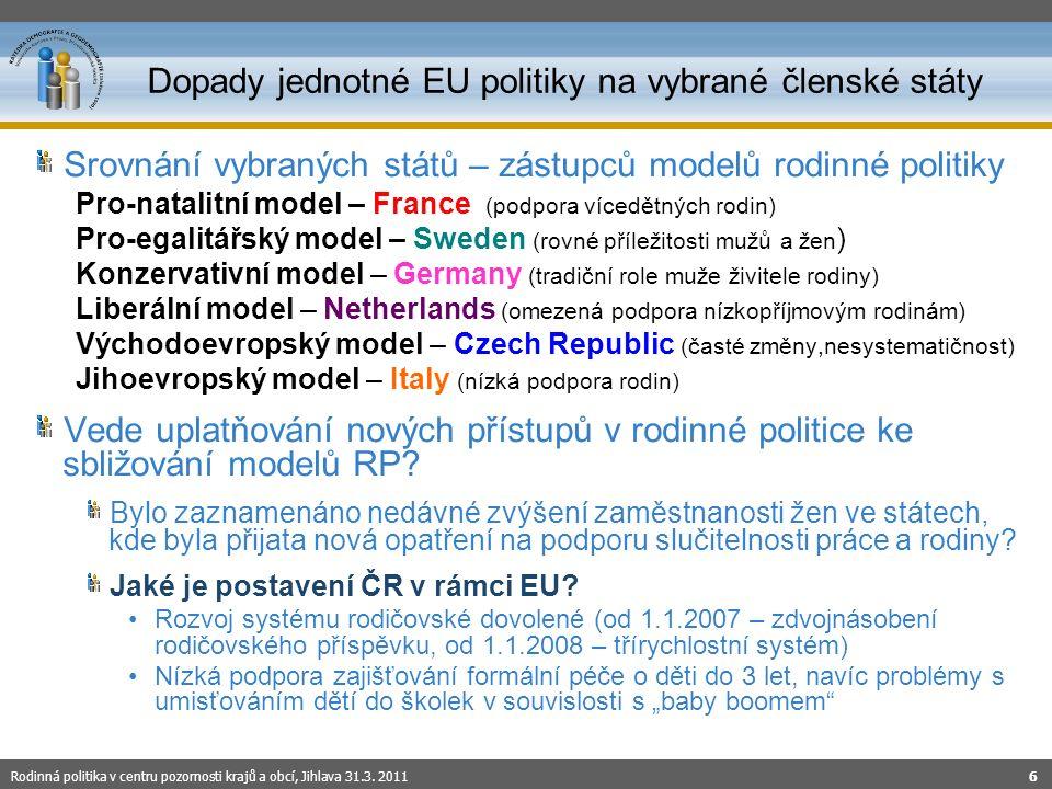 Srovnání vybraných států – zástupců modelů rodinné politiky Pro-natalitní model – France (podpora vícedětných rodin) Pro-egalitářský model – Sweden (rovné příležitosti mužů a žen ) Konzervativní model – Germany (tradiční role muže živitele rodiny) Liberální model – Netherlands (omezená podpora nízkopříjmovým rodinám) Východoevropský model – Czech Republic (časté změny,nesystematičnost) Jihoevropský model – Italy (nízká podpora rodin) Vede uplatňování nových přístupů v rodinné politice ke sbližování modelů RP.