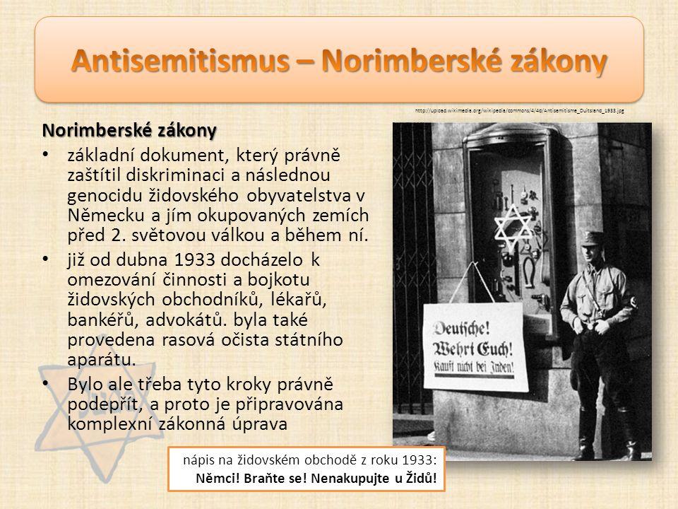 Norimberské zákony základní dokument, který právně zaštítil diskriminaci a následnou genocidu židovského obyvatelstva v Německu a jím okupovaných zemích před 2.