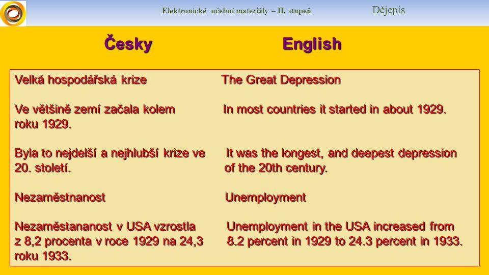Elektronické učební materiály – II. stupeň Dějepis Česky English Velká hospodářská krize The Great Depression Ve většině zemí začala kolem In most cou