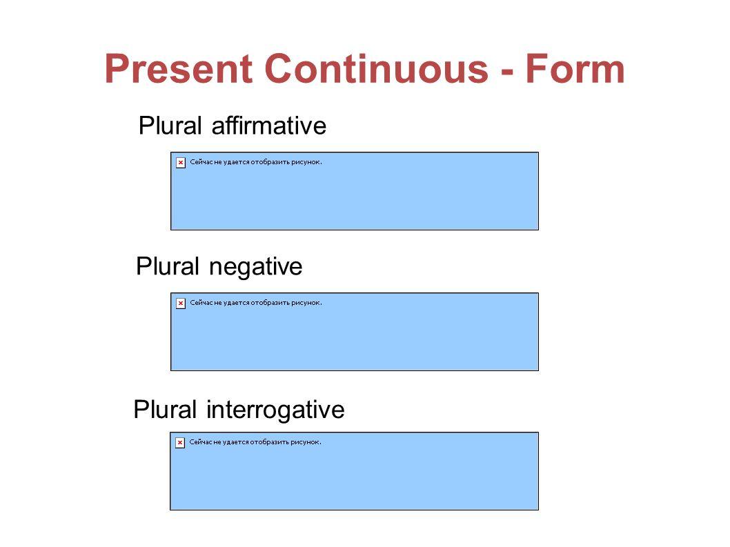 Present Continuous - Form Plural affirmative Plural negative Plural interrogative