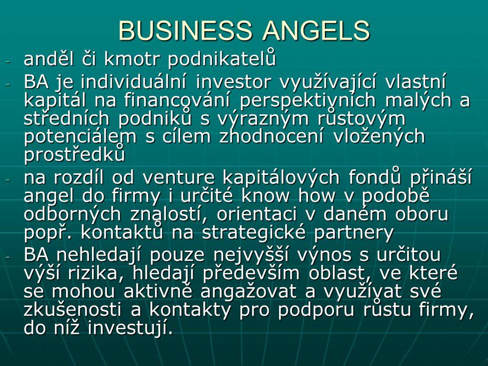 - anděl či kmotr podnikatelů - BA je individuální investor využívající vlastní kapitál na financování perspektivních malých a středních podniků s výrazným růstovým potenciálem s cílem zhodnocení vložených prostředků - na rozdíl od venture kapitálových fondů přináší angel do firmy i určité know how v podobě odborných znalostí, orientaci v daném oboru popř.