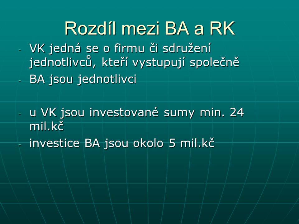 Rozdíl mezi BA a RK - VK jedná se o firmu či sdružení jednotlivců, kteří vystupují společně - BA jsou jednotlivci - u VK jsou investované sumy min.