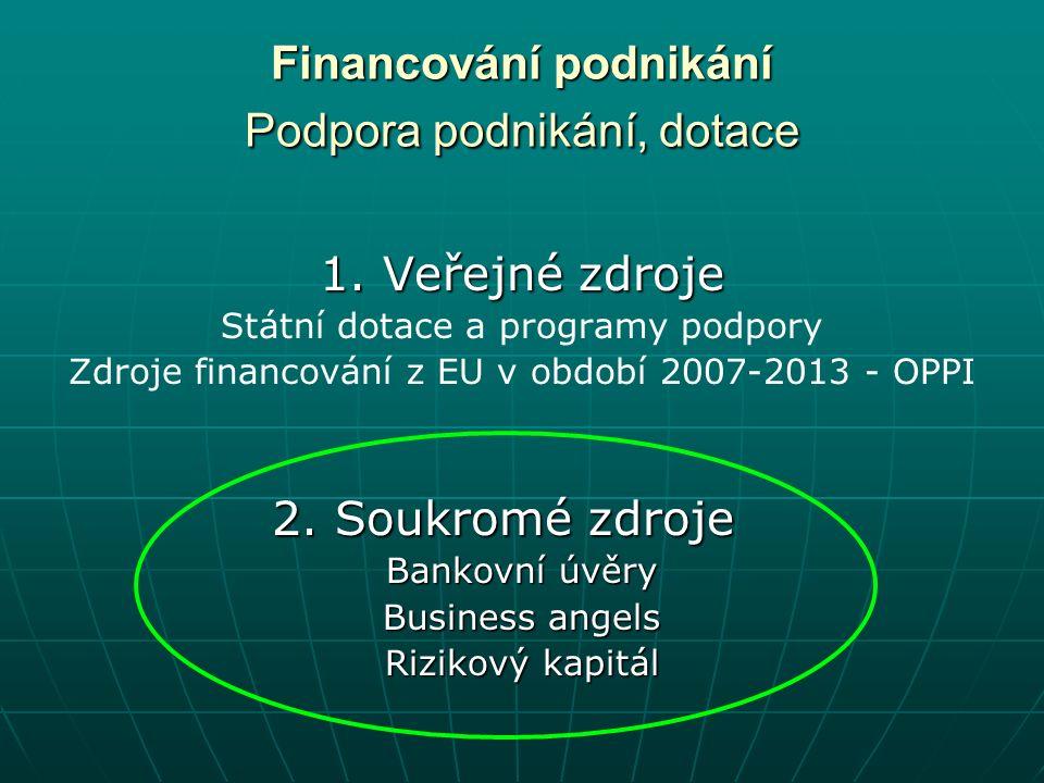 Financování podnikání Podpora podnikání, dotace 1.