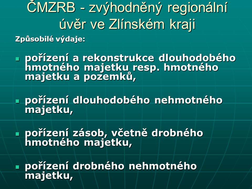 ČMZRB - zvýhodněný regionální úvěr ve Zlínském kraji Způsobilé výdaje: pořízení a rekonstrukce dlouhodobého hmotného majetku resp.
