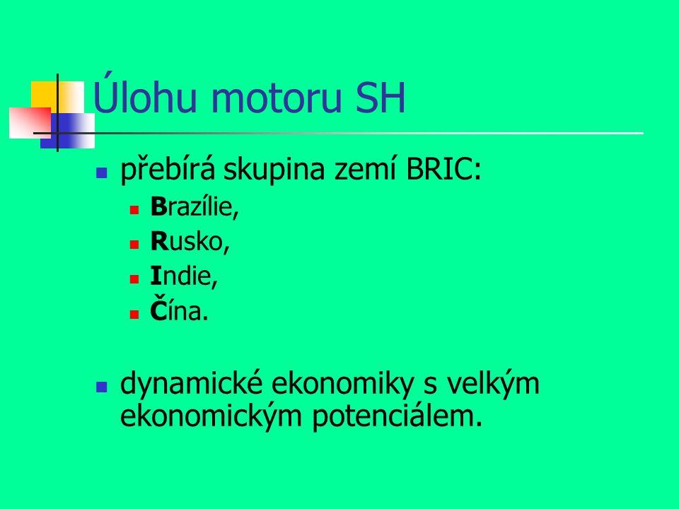 Úlohu motoru SH přebírá skupina zemí BRIC: Brazílie, Rusko, Indie, Čína.