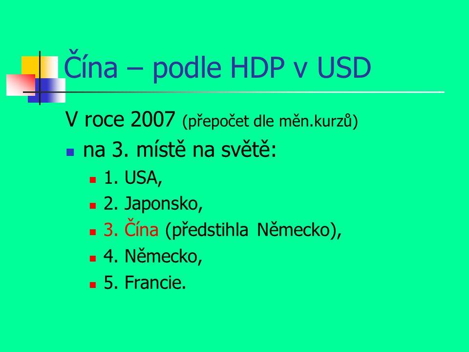Čína – podle HDP v USD V roce 2007 (přepočet dle měn.kurzů) na 3.
