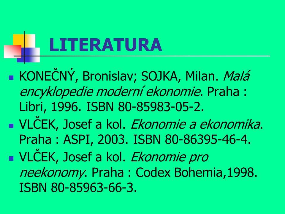 LITERATURA KONEČNÝ, Bronislav; SOJKA, Milan. Malá encyklopedie moderní ekonomie.