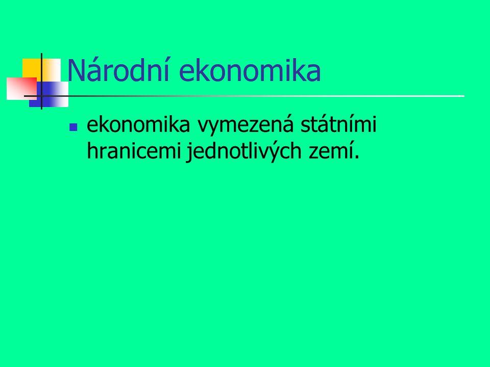 Národní ekonomika ekonomika vymezená státními hranicemi jednotlivých zemí.