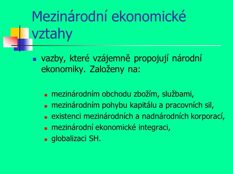 Mezinárodní ekonomické vztahy vazby, které vzájemně propojují národní ekonomiky.