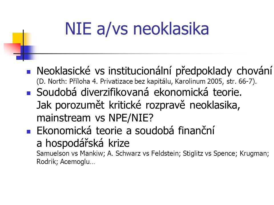 NIE a/vs neoklasika Neoklasické vs institucionální předpoklady chování (D.