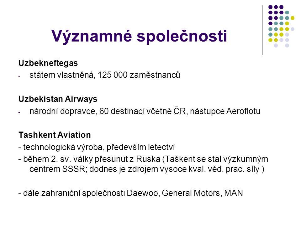 Významné společnosti Uzbekneftegas - státem vlastněná, 125 000 zaměstnanců Uzbekistan Airways - národní dopravce, 60 destinací včetně ČR, nástupce Aeroflotu Tashkent Aviation - technologická výroba, především letectví - během 2.