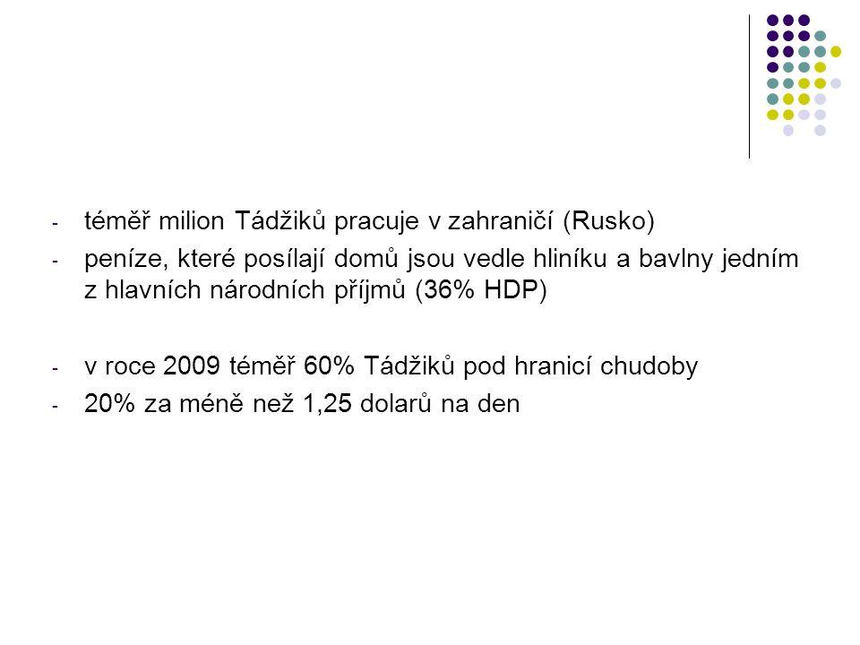 - téměř milion Tádžiků pracuje v zahraničí (Rusko) - peníze, které posílají domů jsou vedle hliníku a bavlny jedním z hlavních národních příjmů (36% HDP) - v roce 2009 téměř 60% Tádžiků pod hranicí chudoby - 20% za méně než 1,25 dolarů na den