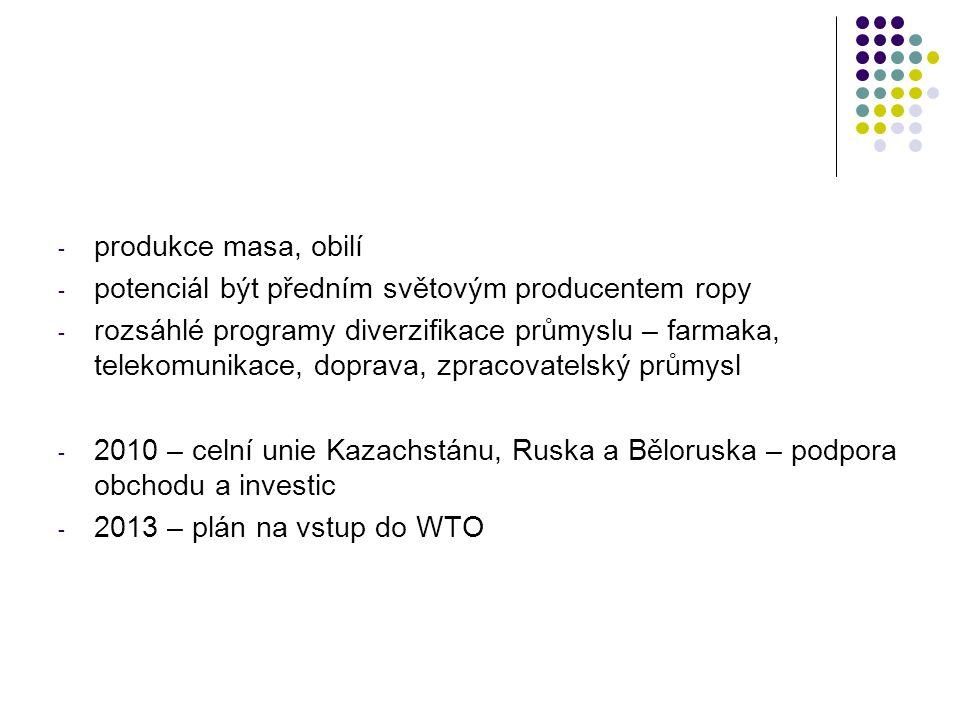 - produkce masa, obilí - potenciál být předním světovým producentem ropy - rozsáhlé programy diverzifikace průmyslu – farmaka, telekomunikace, doprava, zpracovatelský průmysl - 2010 – celní unie Kazachstánu, Ruska a Běloruska – podpora obchodu a investic - 2013 – plán na vstup do WTO