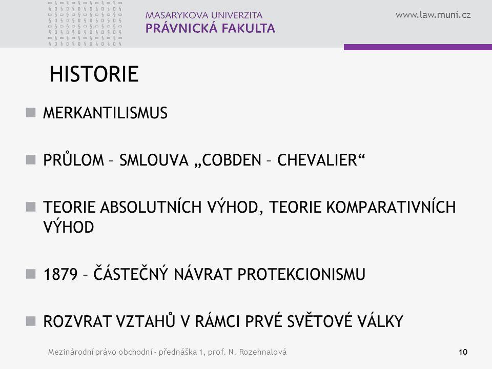 """www.law.muni.cz HISTORIE MERKANTILISMUS PRŮLOM – SMLOUVA """"COBDEN – CHEVALIER"""" TEORIE ABSOLUTNÍCH VÝHOD, TEORIE KOMPARATIVNÍCH VÝHOD 1879 – ČÁSTEČNÝ NÁ"""