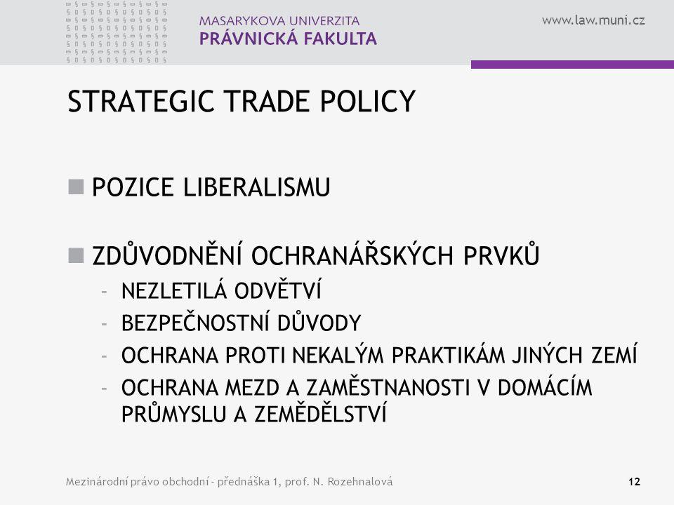 www.law.muni.cz STRATEGIC TRADE POLICY POZICE LIBERALISMU ZDŮVODNĚNÍ OCHRANÁŘSKÝCH PRVKŮ -NEZLETILÁ ODVĚTVÍ -BEZPEČNOSTNÍ DŮVODY -OCHRANA PROTI NEKALÝ
