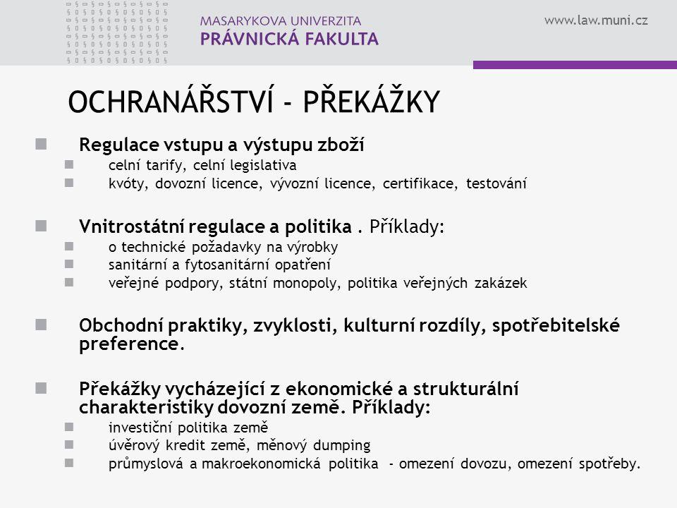 www.law.muni.cz OCHRANÁŘSTVÍ - PŘEKÁŽKY Regulace vstupu a výstupu zboží celní tarify, celní legislativa kvóty, dovozní licence, vývozní licence, certi