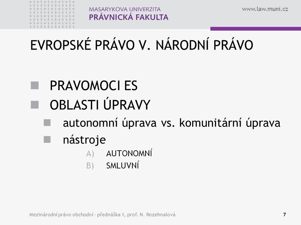 www.law.muni.cz EVROPSKÉ PRÁVO V. NÁRODNÍ PRÁVO PRAVOMOCI ES OBLASTI ÚPRAVY autonomní úprava vs. komunitární úprava nástroje A)AUTONOMNÍ B)SMLUVNÍ 7Me