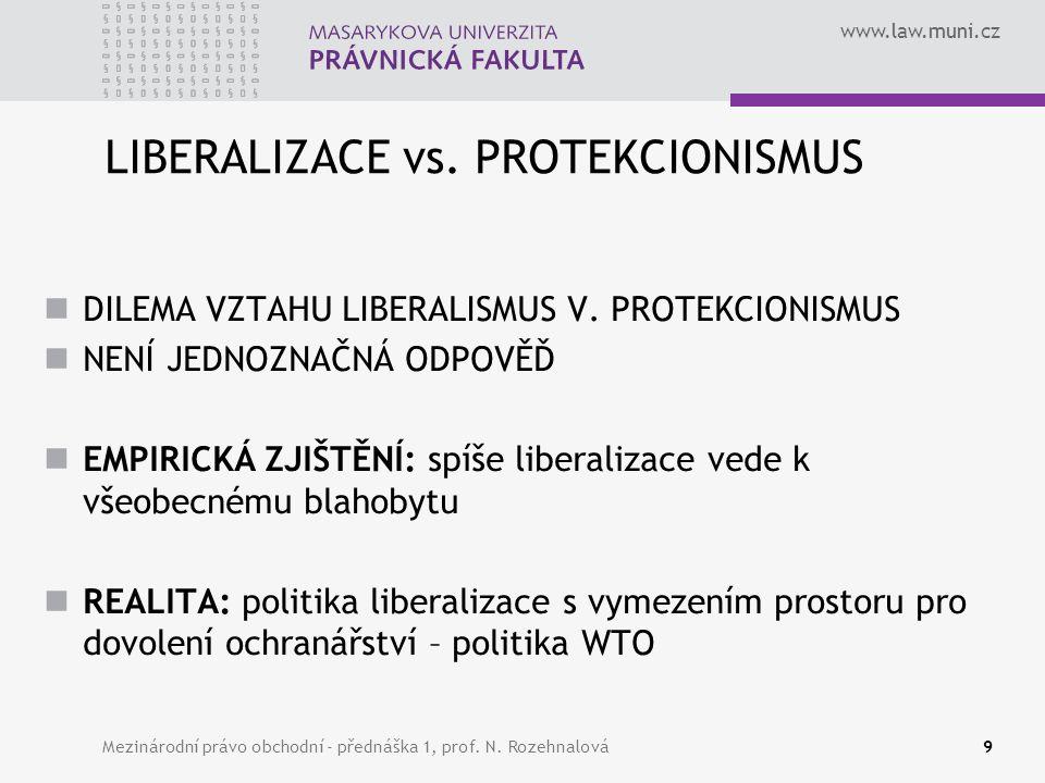 www.law.muni.cz LIBERALIZACE vs. PROTEKCIONISMUS DILEMA VZTAHU LIBERALISMUS V. PROTEKCIONISMUS NENÍ JEDNOZNAČNÁ ODPOVĚĎ EMPIRICKÁ ZJIŠTĚNÍ: spíše libe