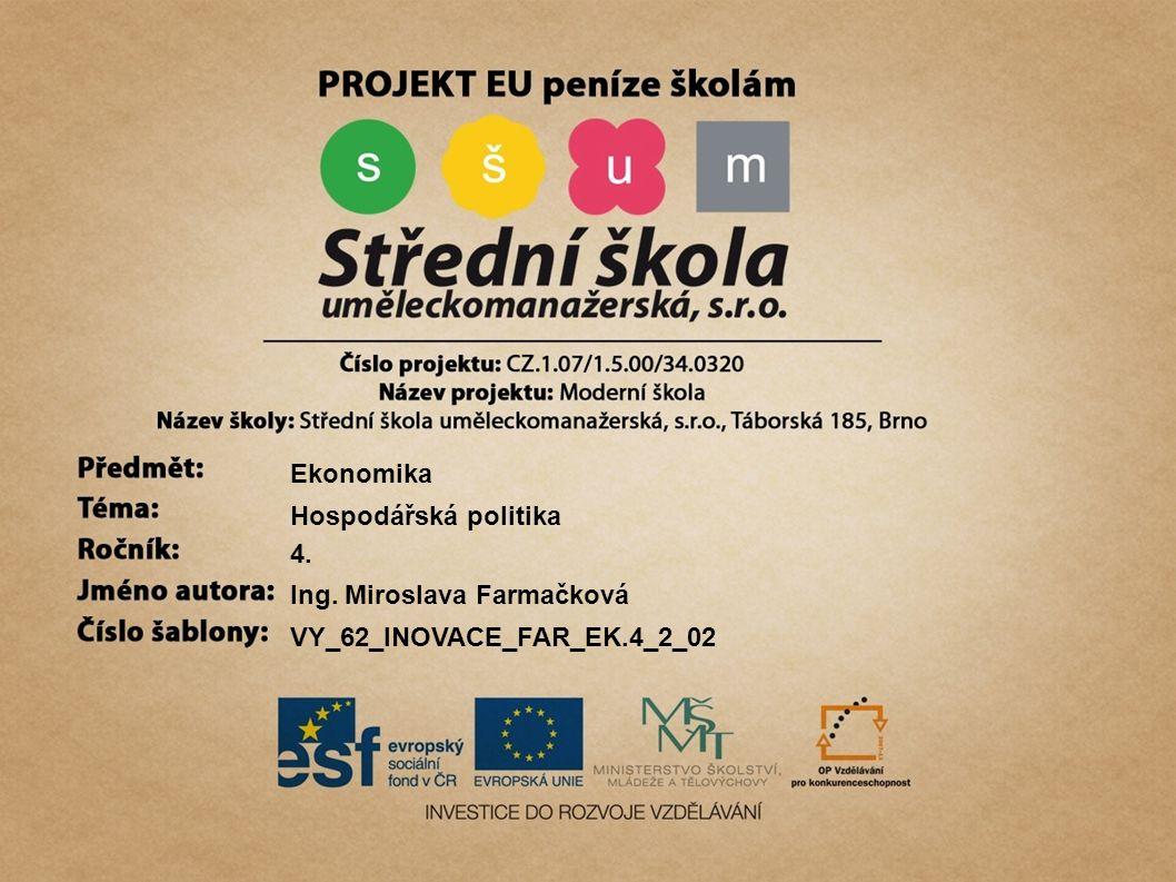 Ekonomika Hospodářská politika 4. Ing. Miroslava Farmačková VY_62_INOVACE_FAR_EK.4_2_02