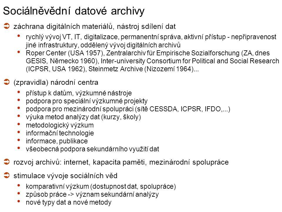 ISS Management dat, archivy Str. 4 Sociálněvědní datové archivy  záchrana digitálních materiálů, nástroj sdílení dat rychlý vývoj VT, IT, digitalizac