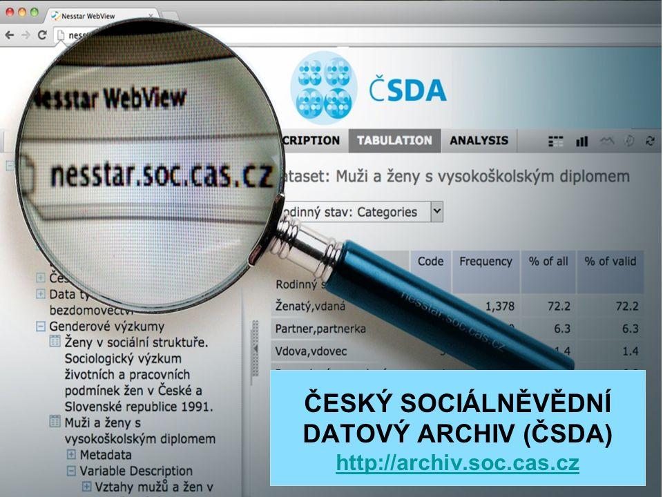 ISS Český sociálněvědní datový archiv (ČSDA)  národní centrum datových služeb v sociálních vědách archivace a dlouhodobé uchovávání dat ze sociálních výzkumů zpřístupnění dat pro nekomerční výzkum a pro výuku na VŠ (open access, on-line: http://archiv.soc.cas.cz, zdarma)http://archiv.soc.cas.cz rozcestník k datovým zdrojům o české společnosti podpora sekundární analýzy dat (on-line instruktážní materiály, informace, kurzy, Data a výzkum - SDA Info (recenzovaný metodologický časopis), metodologický výzkum - harmonizace dat, standardy, kvalita dat, přehledové studie o zdrojích dat) podpora organizace výzkumných šetření (např.