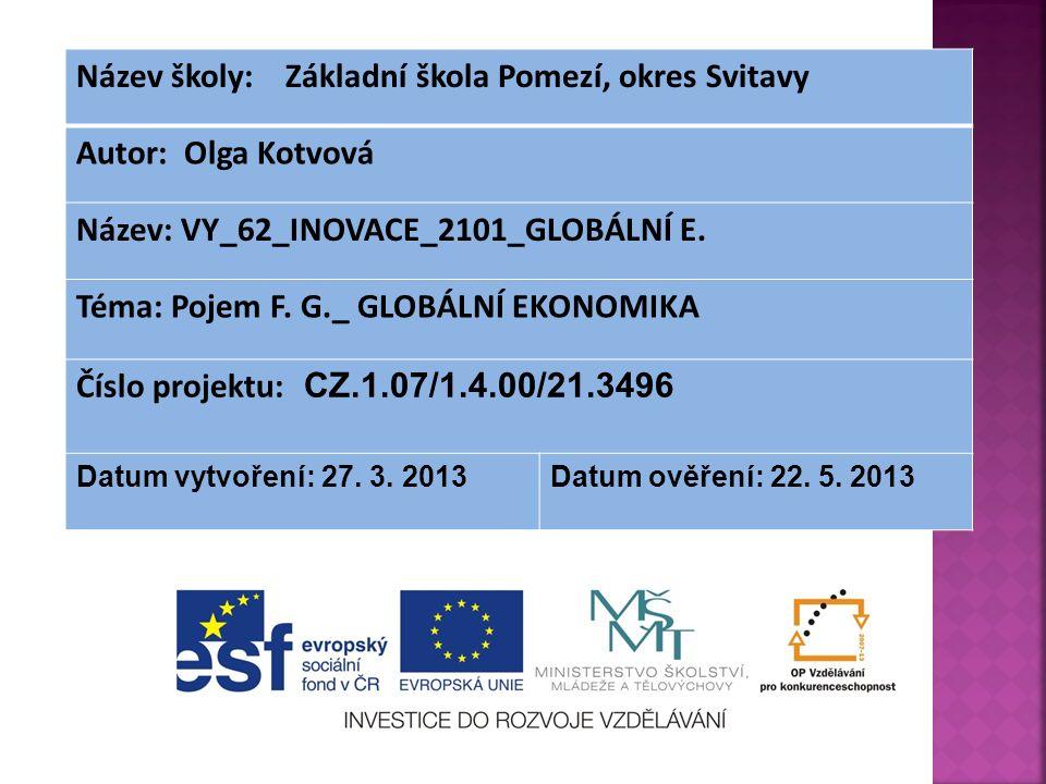 Název školy: Základní škola Pomezí, okres Svitavy Autor: Olga Kotvová Název: VY_62_INOVACE_2101_GLOBÁLNÍ E.