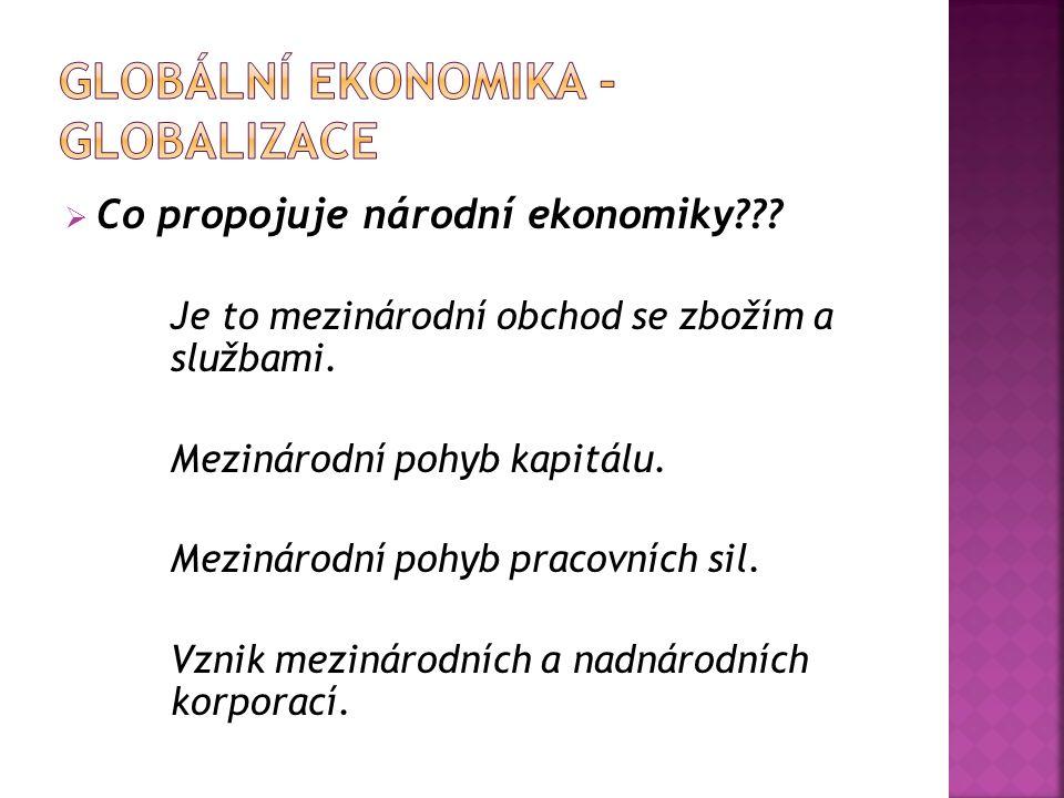  Co propojuje národní ekonomiky??.Je to mezinárodní obchod se zbožím a službami.