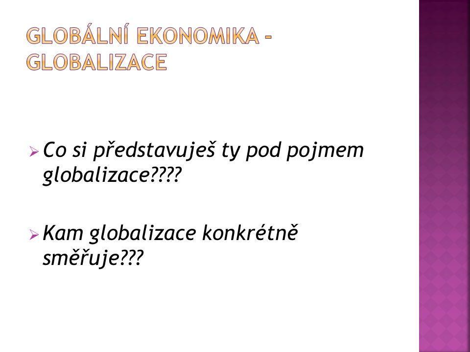  Co si představuješ ty pod pojmem globalizace????  Kam globalizace konkrétně směřuje???