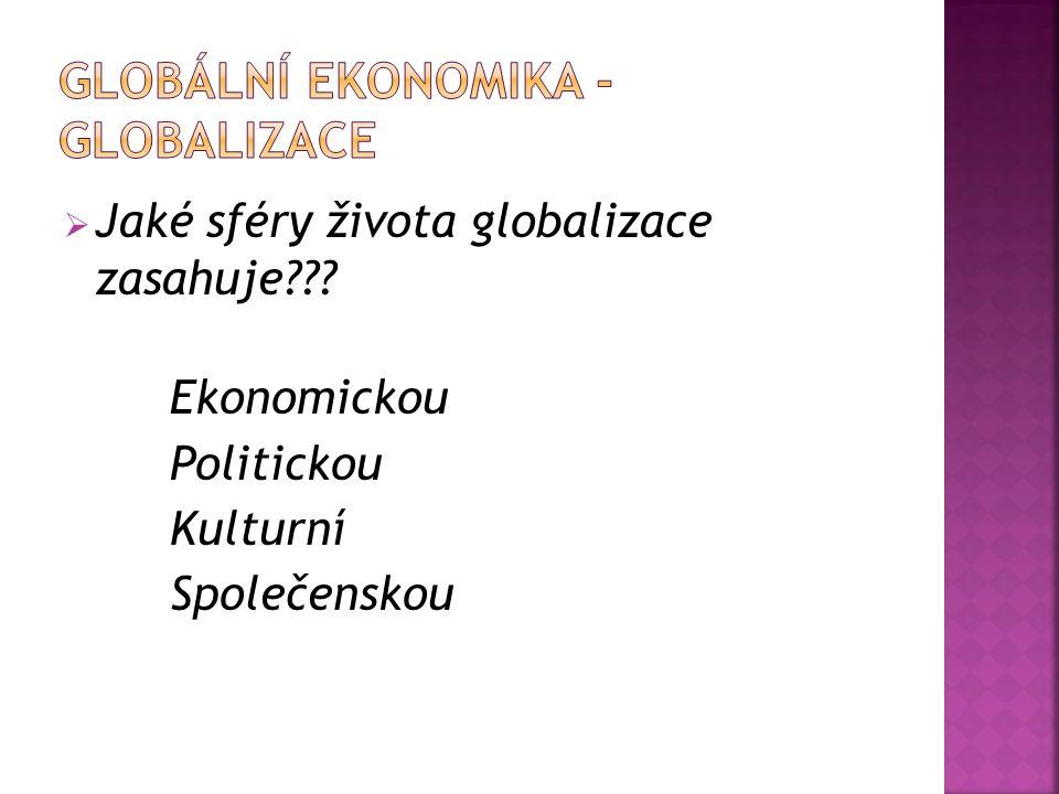  Jaké sféry života globalizace zasahuje??? Ekonomickou Politickou Kulturní Společenskou