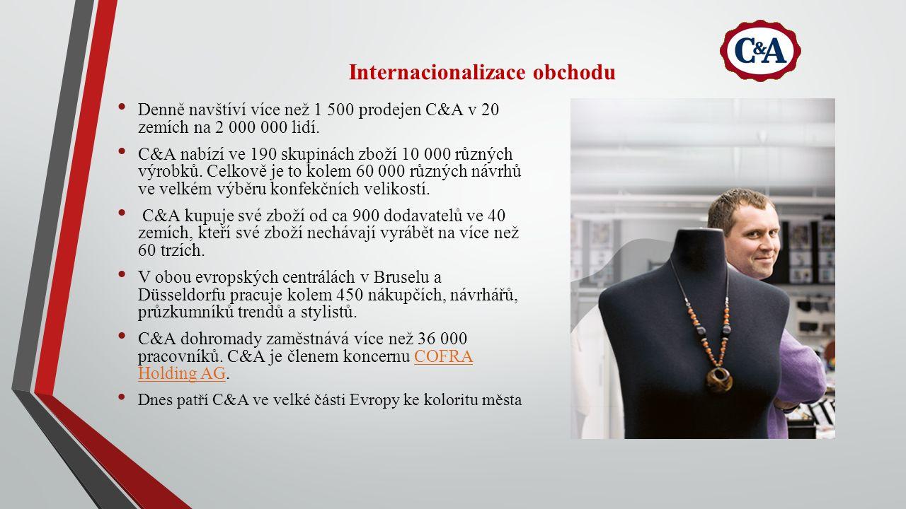 Internacionalizace obchodu Denně navštíví více než 1 500 prodejen C&A v 20 zemích na 2 000 000 lidí. C&A nabízí ve 190 skupinách zboží 10 000 různých