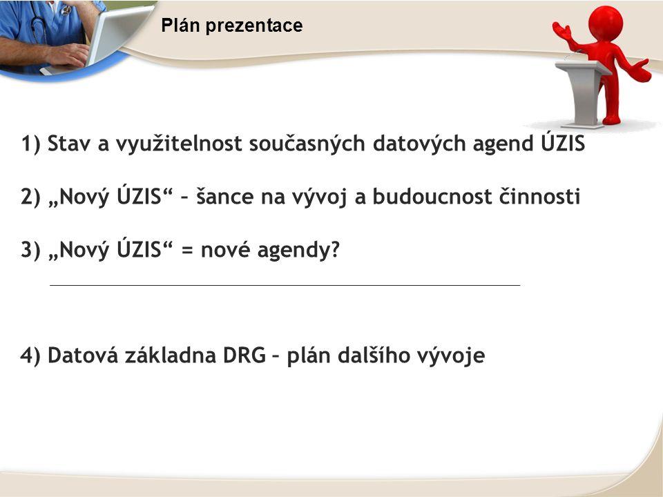 """Plán prezentace 1) Stav a využitelnost současných datových agend ÚZIS 2) """"Nový ÚZIS – šance na vývoj a budoucnost činnosti 3) """"Nový ÚZIS = nové agendy."""