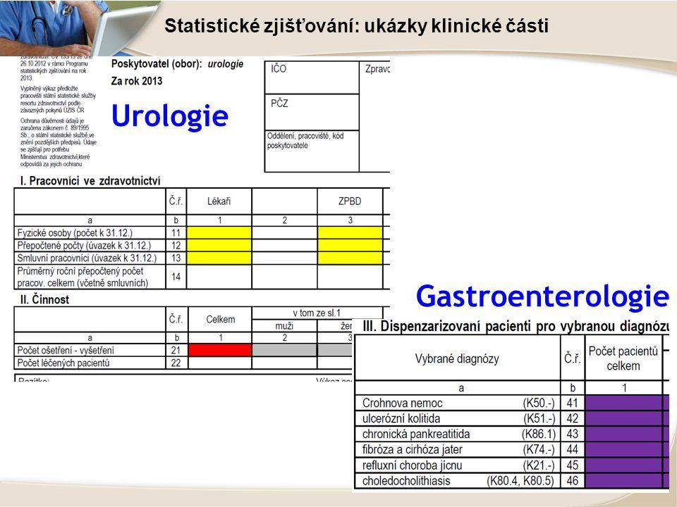 Statistické zjišťování: ukázky klinické části Urologie Gastroenterologie