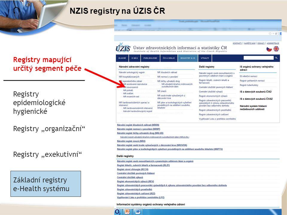 """NZIS registry na ÚZIS ČR Registry mapující určitý segment péče Registry epidemiologické hygienické Registry """"organizační Registry """"exekutivní Základní registry e-Health systému"""