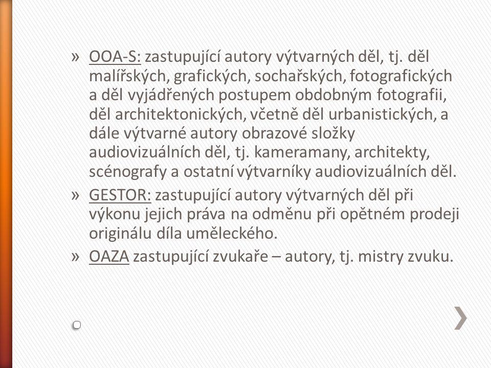 » OOA-S: zastupující autory výtvarných děl, tj.