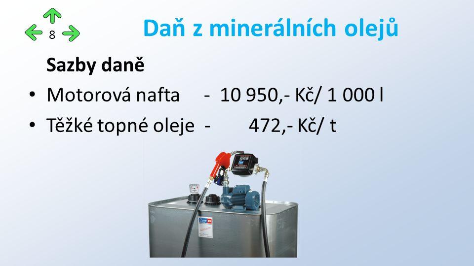 Sazby daně Motorová nafta - 10 950,- Kč/ 1 000 l Těžké topné oleje - 472,- Kč/ t Daň z minerálních olejů 8