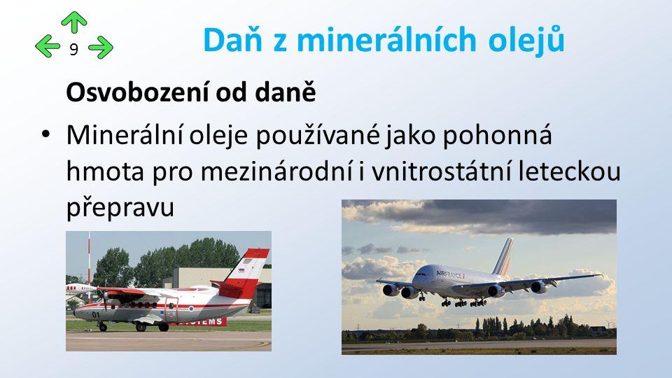 Osvobození od daně Minerální oleje používané jako pohonná hmota pro mezinárodní i vnitrostátní leteckou přepravu Daň z minerálních olejů 9
