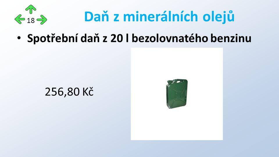 Spotřební daň z 20 l bezolovnatého benzinu 256,80 Kč Daň z minerálních olejů 18