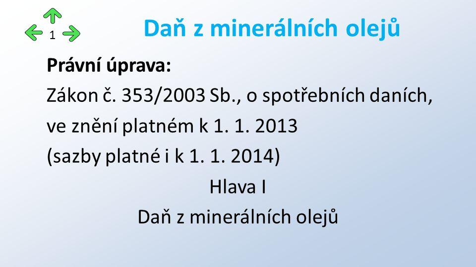 Právní úprava: Zákon č.353/2003 Sb., o spotřebních daních, ve znění platném k 1.